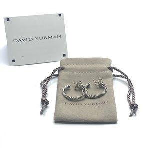 {David Yurman} Cable Sterling Silver Hoop Earrings